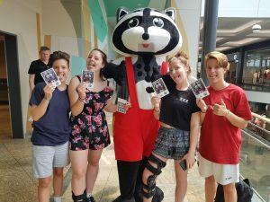 Maskottchen-Aktion im Shopping Center